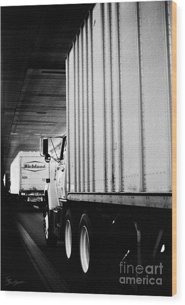 Truck Traffic In Tunnel Wood Print