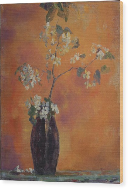 Trudi's Vase Wood Print by Terri Messinger