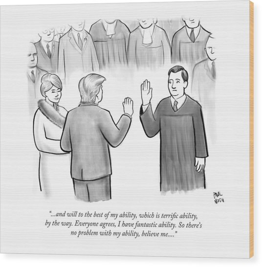 Trump Being Sworn Into Office Wood Print