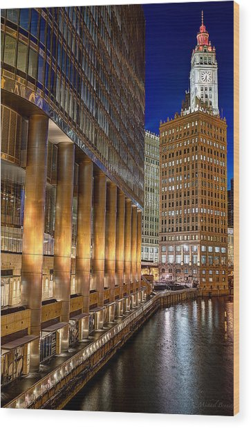 Trump Wrigley Chicago River Blue Hour Wood Print by Michael  Bennett