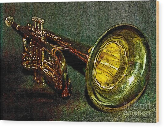 Trumpet - 20130111 Wood Print by Wingsdomain Art and Photography