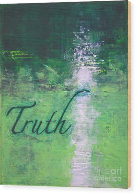Truth - Emerald Green Abstract By Chakramoon Wood Print by Belinda Capol