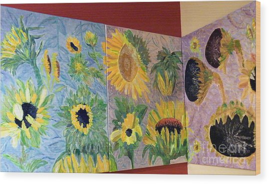 Tryptich Corner Sunflowers Wood Print