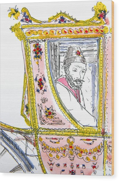 Tsar In Carriage Wood Print