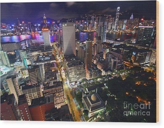 Tsim Sha Tsui In Hong Kong Wood Print by Lars Ruecker