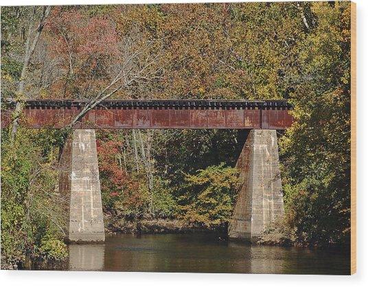 Tuckahoe Railroad Bridge Up Close Wood Print by Bill Swartwout Photography