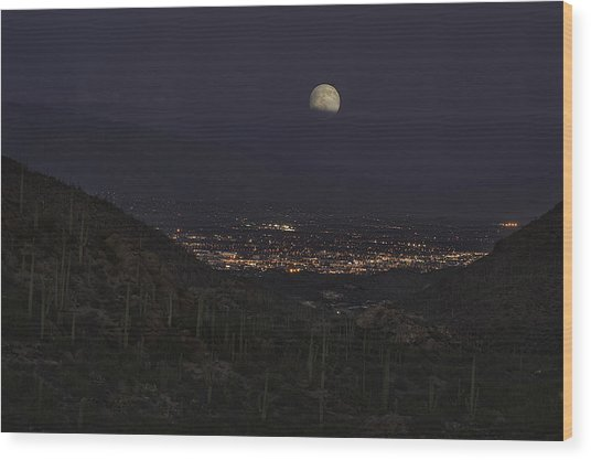 Tucson At Dusk Wood Print