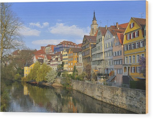 Tuebingen Neckarfront With Beautiful Old Houses Wood Print