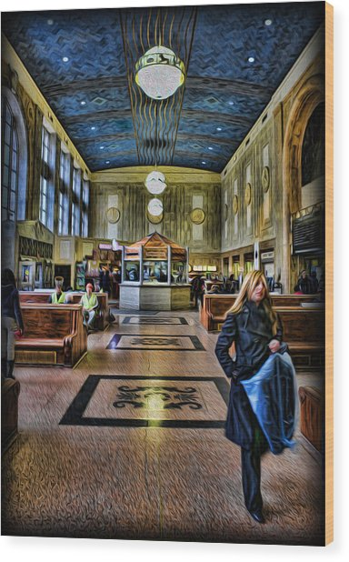 Tuesday Afternoon At The Train Station Wood Print by Lee Dos Santos