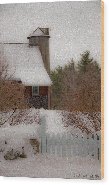 Tuftonboro Farm In Snow Wood Print