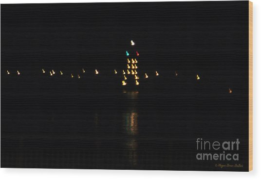 Tug Boat Light Painting Wood Print