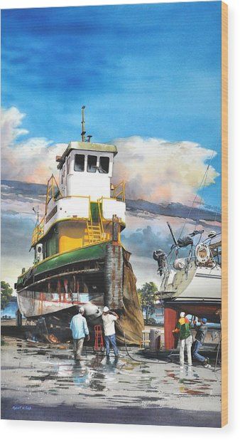 Tugboat Brown Gulf Wood Print