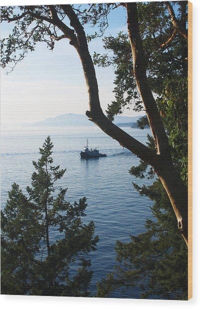 Tugboat Passes Wood Print
