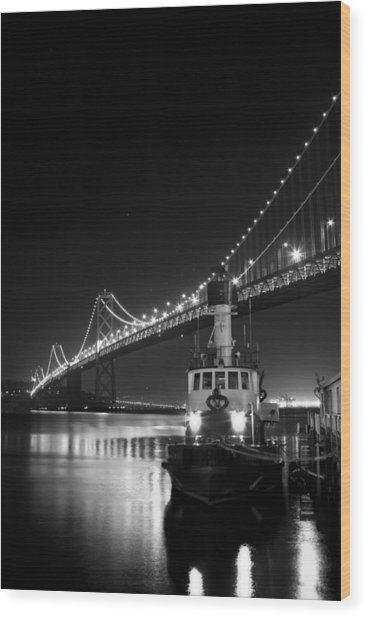 Tugboat Under The Bay Bridge Wood Print