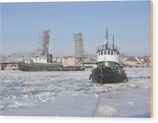 Tugs In The Harbor Wood Print