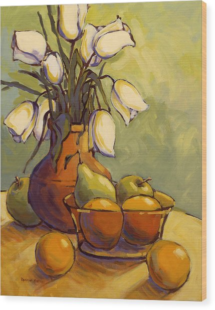 Wood Print featuring the painting Tulips 1 by Konnie Kim