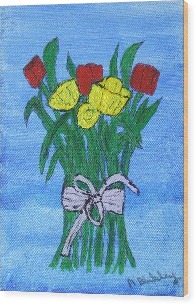 Tulips And Daffodils Wood Print
