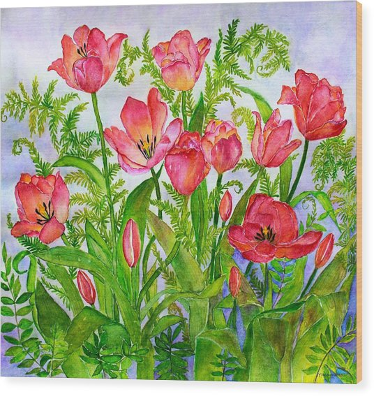 Tulips And Lacy Ferns Wood Print