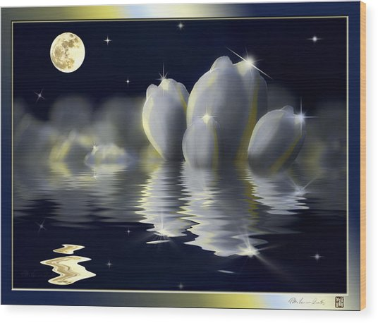 Tulips And Moon Reflection Wood Print