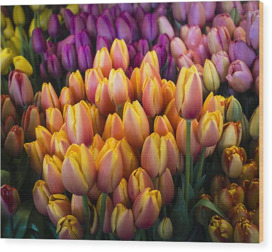 Tulips At The Market Wood Print