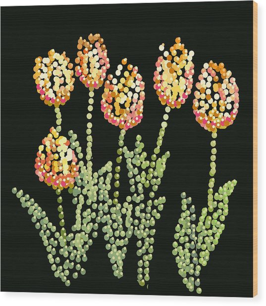 Tulips Bedazzled Wood Print