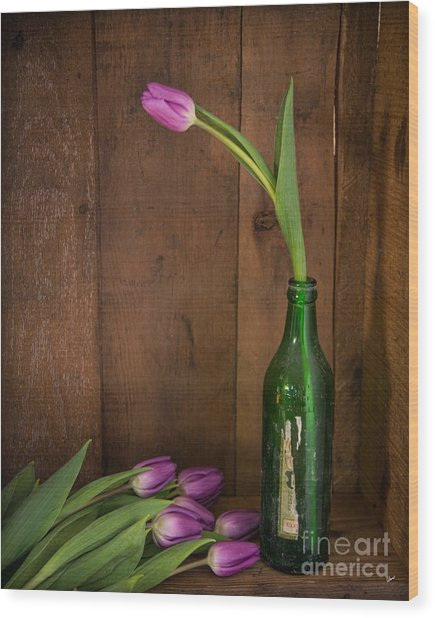 Tulips Green Bottle Wood Print