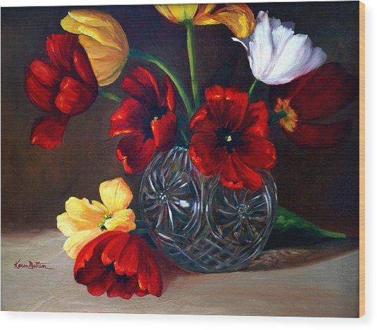 Tulips In Crystal Wood Print