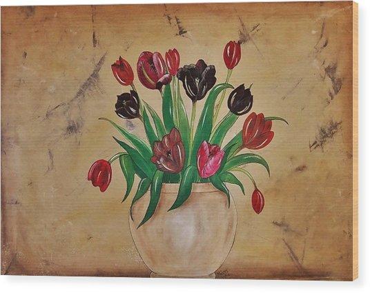 Tulips Of Tuscany 57x41 Wood Print