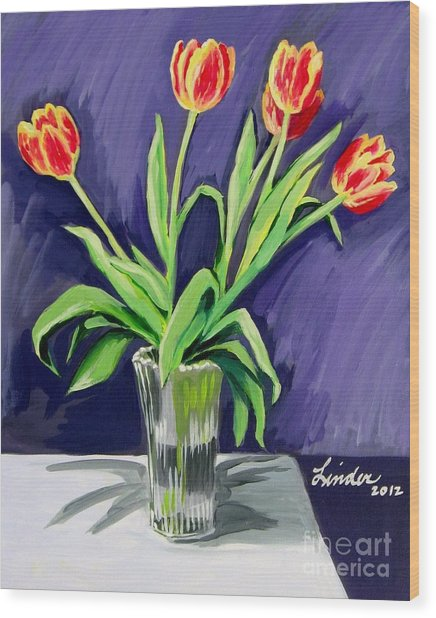 Tulips On The Table Wood Print