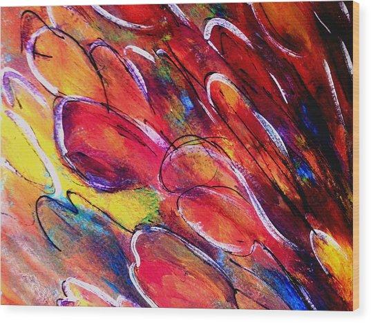 Tulips Swaying Wood Print