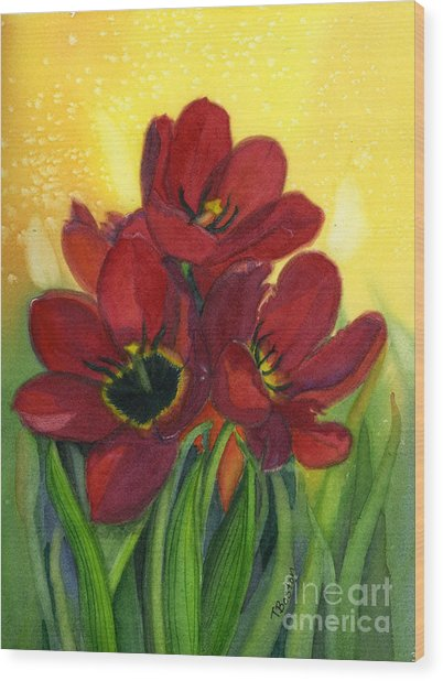 Tulips Wood Print by Teresa Boston