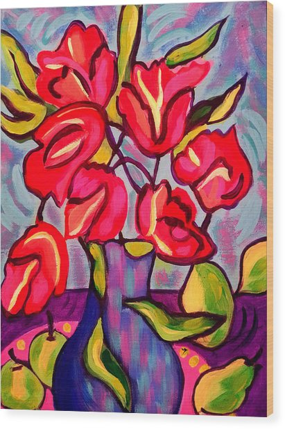 Tulips With Fruit Wood Print