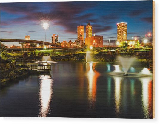 Tulsa Oklahoma City Lights Wood Print