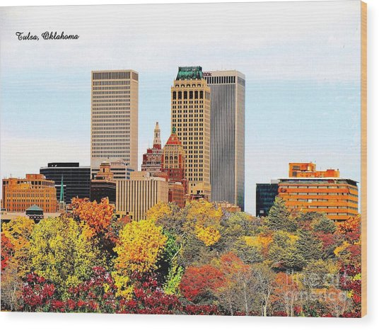 Tulsa Oklahoma In Autumn Wood Print