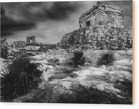 Tulum Ruin Wood Print