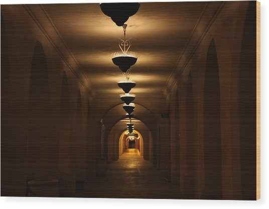 Tunnel Of Light Wood Print