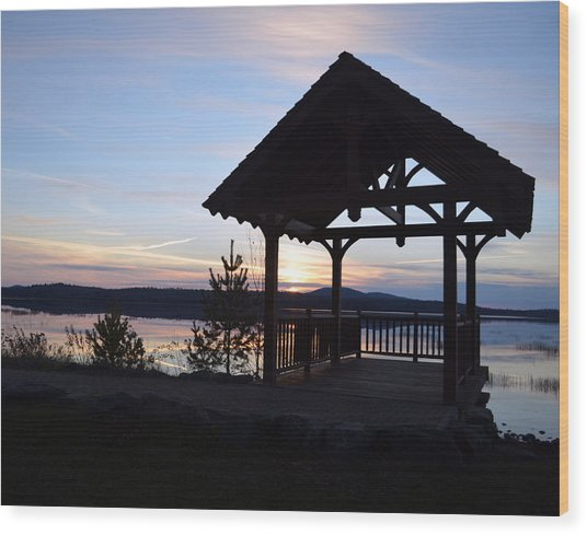 Tupper Lake Sunset Over Raquette Pond Wood Print