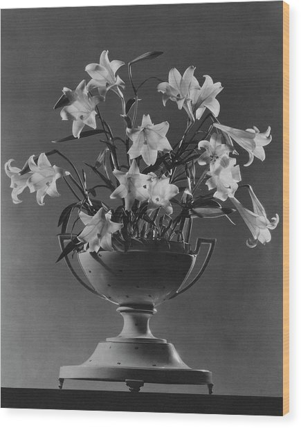 Tureen With Lilies Wood Print