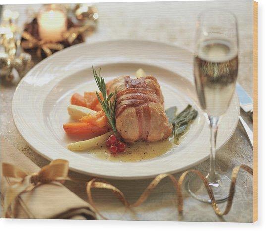 Turkey Parcel Wrapped In Pancetta Wood Print by Monty Rakusen
