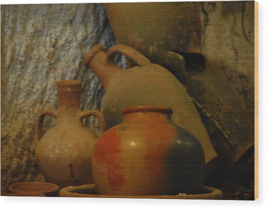 Turkish Pottery Wood Print by Jacqueline M Lewis