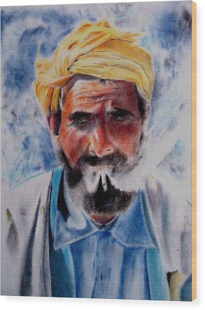 Turkish Smoker In Colour Wood Print