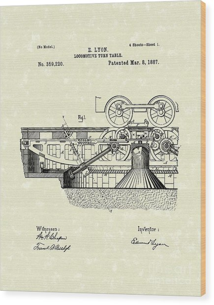 Turn Table 1887 Patent Art Wood Print by Prior Art Design