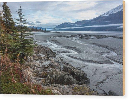 Turnagain Tide Flats Wood Print