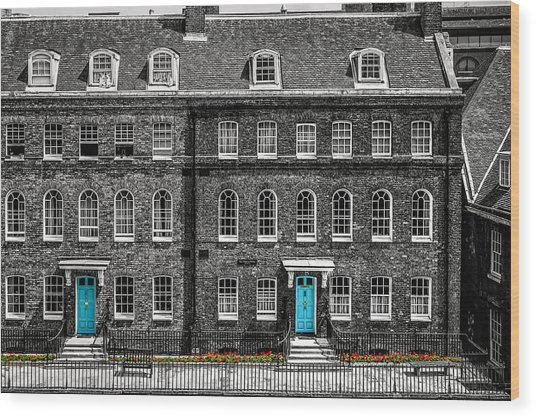 Turquoise Doors At Tower Of London's Old Hospital Block Wood Print