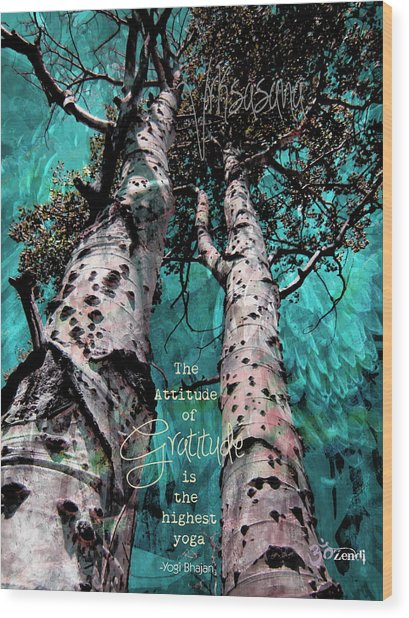 Turquois Trees  Wood Print