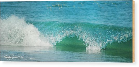 Turquois Waves  Wood Print