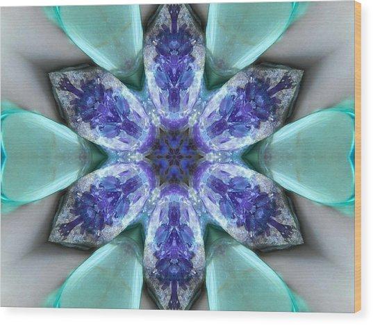 Turquoise Amethyst Star Mandala Wood Print