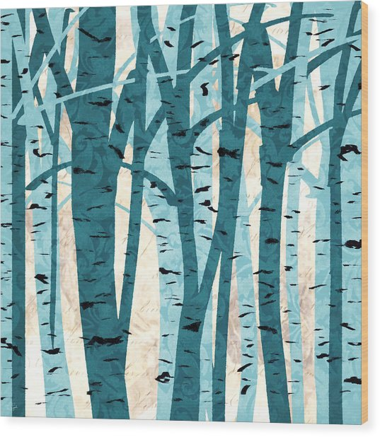 Turquoise Birch Trees Wood Print