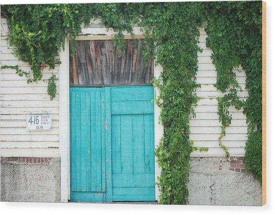 Turquoise Door Wood Print by Pamela Schreckengost