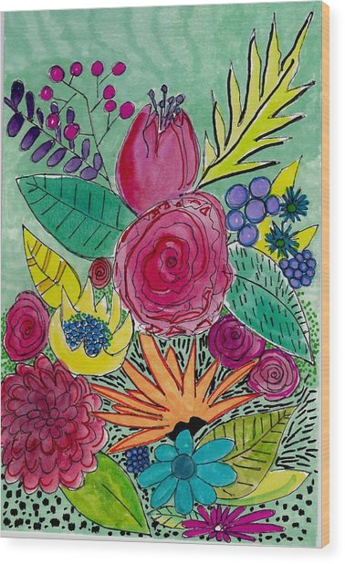 Turquoise Flower Garden Wood Print